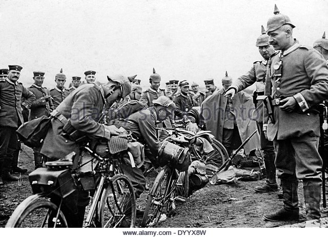 German Bicycle Infantry prepare to go to the front.