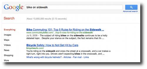 Google: Bike on Sidewalk