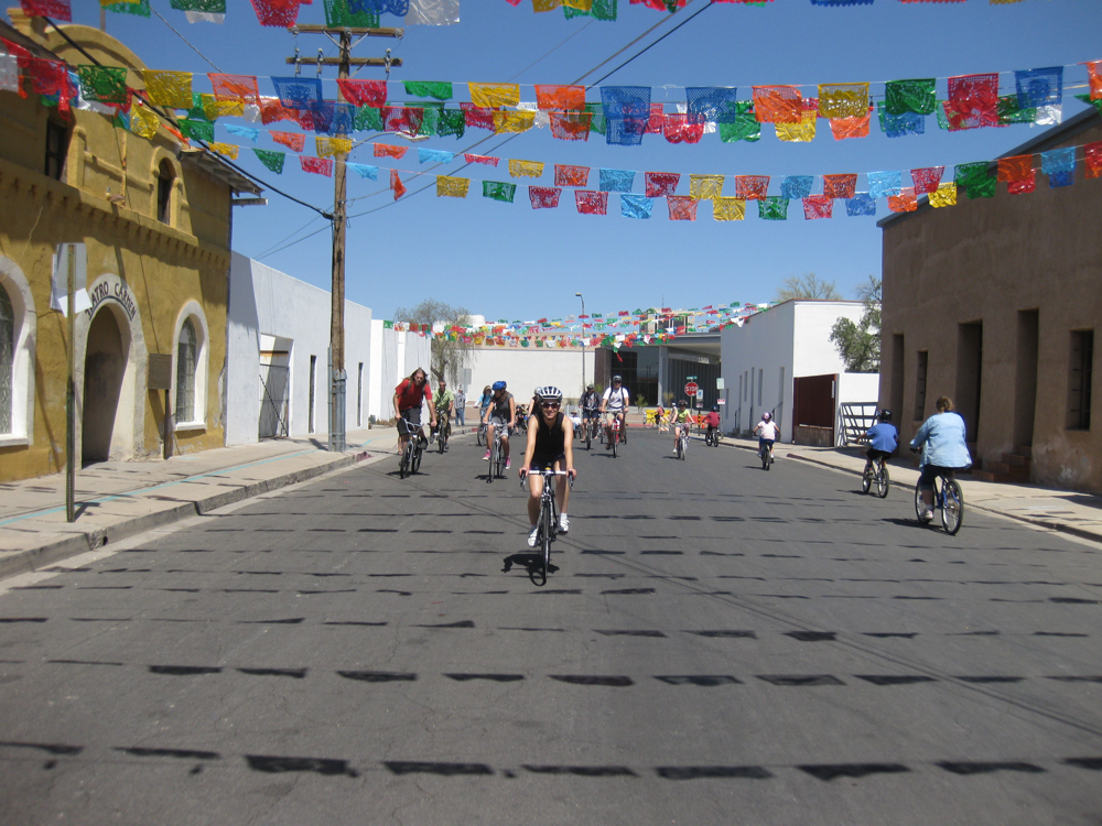 Riding under the Mexican flags
