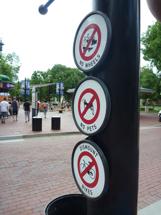 No Wheels, No Pets, Dismount Bikes -- Boulder, Colorado