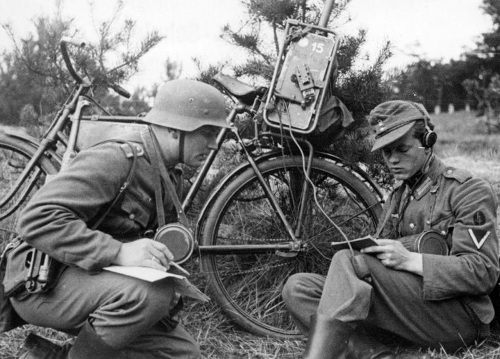 German troops carried not only their guns and backpacks with them on bicycle, but also their radios Communication is the key to combined arms.