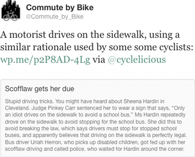 A motorist drives on the sidewalk, using a similar rationale used by some some cyclists: