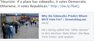Heuristic: if a place has sidewalks, it votes Democratic. Otherwise, it votes Republican.