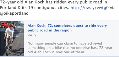 Alan Koch, 72, completes quest to ride every public road in the region