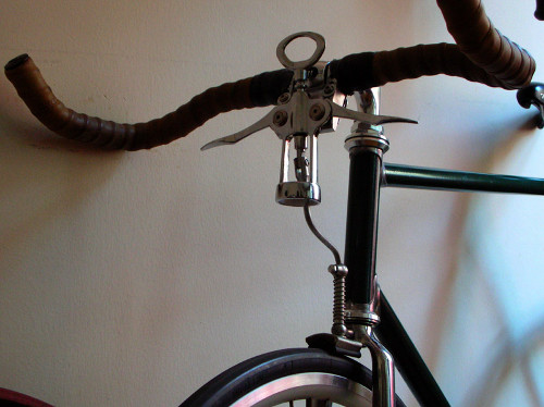 A spoon brake on a rat bike. Spoon brakes use the the tire itself as a braking surface, as opposed to the rim, a disc or the hub.